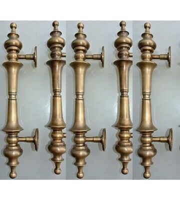 """5 large DOOR handle pull solid SPUN brass vintage old style hollow 30cm 12 """"B"""