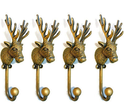 "4 small REINDEER stag horns HOOKS solid BRASS old hook aged style 6 "" Deer B"