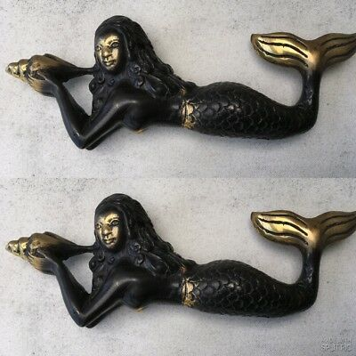 2 cute small mermaid STATUE heavy SOLID BRASS old style shell lying 18cm long B