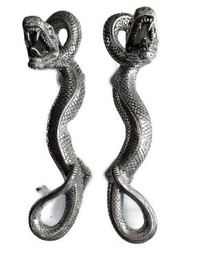 2 SNAKE Python silver plated over brass door PULL hollow house PULL handle 35cmB
