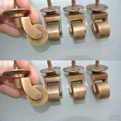 "8 screw castor chair table wheel solid brass 1.3/4 ""high castors old style lookB"