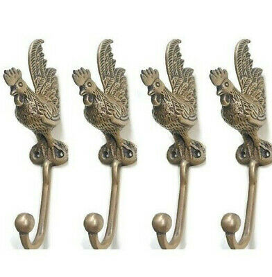 "4 small CHICKEN HOOKS aged solid BRASS old vintage style natural 6.1/2 "" long B"