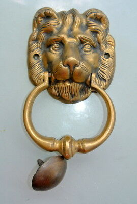 """used LION head heavy Door Knocker SOLID BRASS vintage antique style house 7"""""""