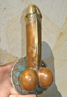 "PENIS shape DOOR PULL or HOOK hand made solid brass 9 "" handle heavy phallusB"