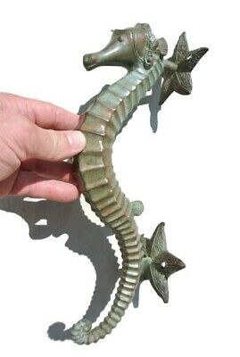 "large aged antique green SEAHORSE solid brass door old style 13"" PULL handle B"