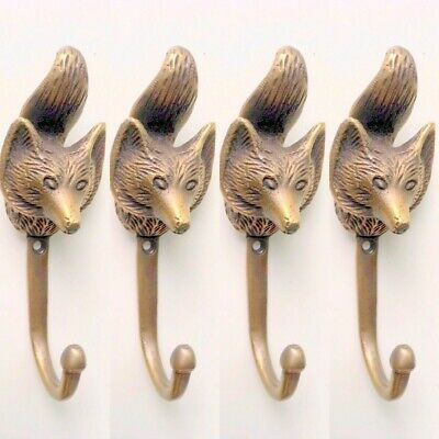 4 small fox COAT HOOK solid aged old brass antiques old style 11 cm hook cast B