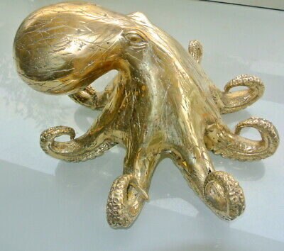 Stunning polished solid hollow heavy brass OCTOPUS statue ornament 33 cm wide B