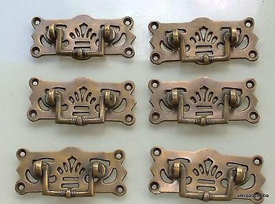 6 small heavy handles aged pull solid brass heavy old vintage style drawer 7cm B