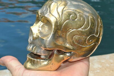"""SKULL head BRASS silver vintage style collect 5"""" statue aged pattern heavy B"""