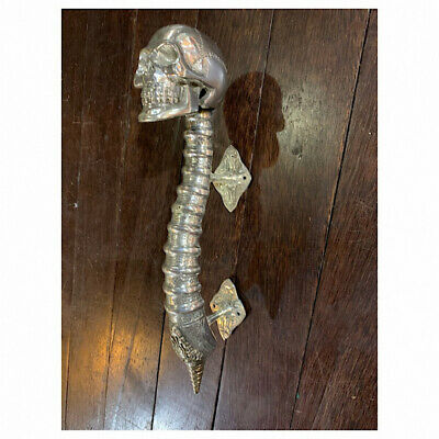 "USED SKULL handle DOOR PULL spine BRASS old vintage style silver 13 "" long"