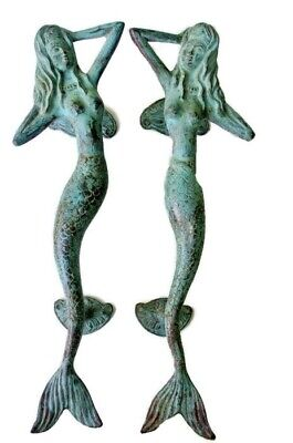 "2 MERMAID 34cm door handle 13"" solid 100% brass door PULL aged green patina B"