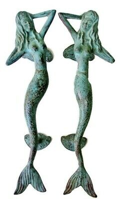 "2 skinny 34cm MERMAID door handle 13"" solid brass door PULL aged green patina B"