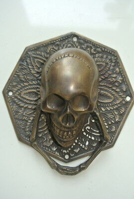 "large HEX SKULL head ring pull Handle BRASS 4"" day of the dead door KNOCKER B"