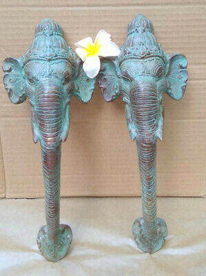 "2 Ganesha Elephant DOOR PULL HANDLE 13"" antique green brass  trunk door 32cm B"