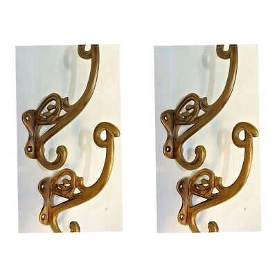 "4 old aged COAT HOOKS FLOWER door solid 100% brass furniture age old style 4"" B"