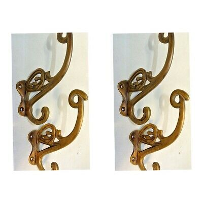 "4 old ook COAT HOOKS FLOWER door solid brass furniture age old style 4"" B"