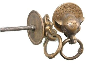 "2 ELEPHANT handle KNOB aged old  Brass PULL ring  knob kitchen 2 1/4"" heavy B"
