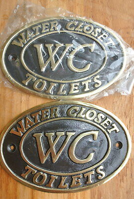 "2 toilet solid brass signs "" WC "" water closet screw door cast heavy 11.5 cm B"