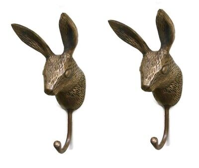2 small rabbit COAT HOOK solid aged pure brass antiques old style 12 cm hook B