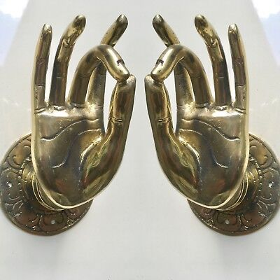 2 large BUDDHA Pull handles hand aged hollow heavy brass door old style10cm B