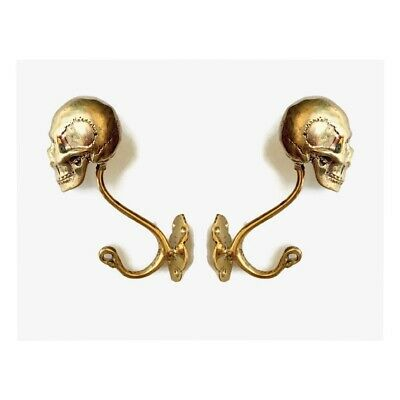 "2 SKULL head 6"" long WALL HOOK heavy polished BRASS 16cm long SCREW wall B"