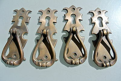 "4 small knob pulls handles door old vintage antique style drops knobs 4"" KH"