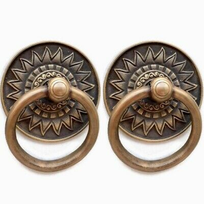 """2 FANCY handle ring pull solid brass heavy old vintage style DOOR 3.1/2 """" bolt"""