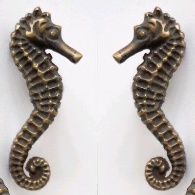 2 Sea Horse Cabinet Pull Set Door Knob Handle Seahorse pure aged Brass 7.5 cm B