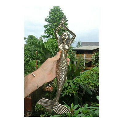 massive MERMAID solid brass door PULL old style heavy polished handle 49 cm B