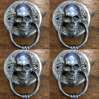 4 SKULL head ring pull Handle pure BRASS silver 7.5 cm day of the dead cabinet B