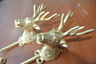 "2 small REINDEER stag horns HOOKS solid BRASS old hook POLISHED style 6 "" Deer B"