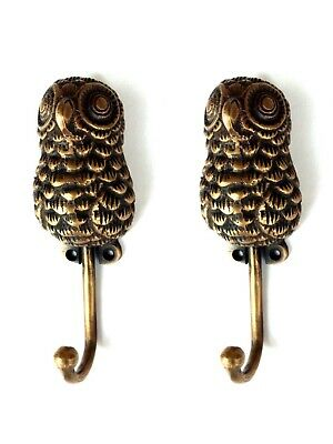 2 medium OWL COAT HOOKS solid age 100% brass vintage old style 15 cm hook B