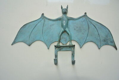 "BAT wing HOOK RACK SOLID BRASS oxidised green old style 13"" long rack hang B"