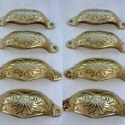 "8 shell handles PULL aged Brass PULL knob kitchen cast POLISHED 4"" screw B"