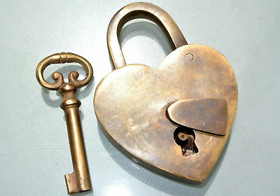 Vintage Love Heart Forever PADLOCK & Keys Solid Brass Antique style Lock aged