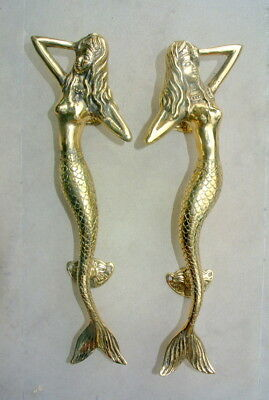 "12 skinny 34cm MERMAID door handle 13"" solid brass door PULL polished brass B"
