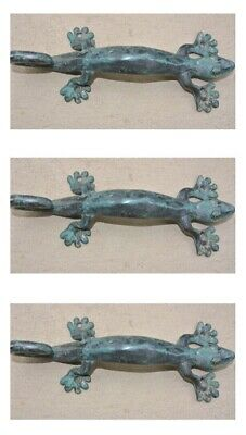 "3 small GECKO DOOR PULLS 21cm green brass PLAIN old style house handle 8.1/2"" B"