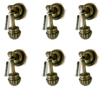 "6 small brass knob pulls handles door old vintage antique style drops knobs 2"" B"