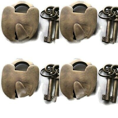 4 aged old style antique look Padlock solid heavy brass keys heavy lock7.5 cm B