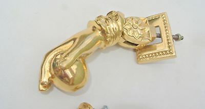 "5"" old vintage style heavy front Door Knocker SOLID BRASS polished fist HAND"