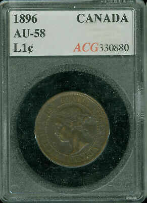 1896 Far-6 Canada Large Cent Certified Au Plus