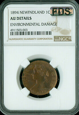 1894 Newfoundland Large Cent Ngc Mac Au-55 Fds First Die Strike *