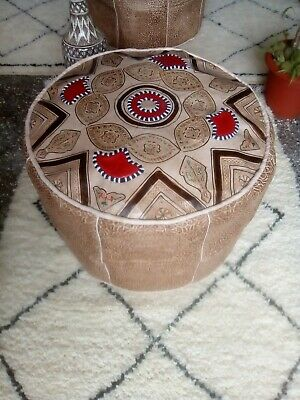 """Large Moroccan handmade Genuine leather Pouf D20""""X H14"""" Footstool Ottoman pouffe"""