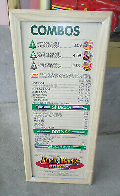 Modern Magnetic Sign UNCLE BUCKS SNACKS MENU 18 x 42 Inches