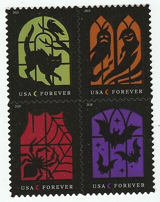 US 5420-5423 5423a Spooky Silhouettes forever block set (4 stamps) MNH 2019 Oct