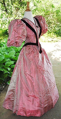 Antique Victorian Silk Taffeta Visiting Dress 1895 2 Piece With Label