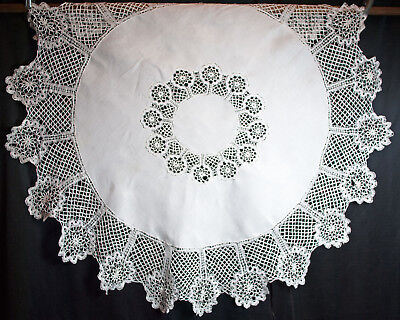 "Victorian Linen Lace Tablecloth 68"" Round - Torchon Cluny Bobbin Lace"