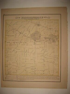 Antique 1874 Bloomingdale Township Dupage County Illinois Handcolored Map Superb