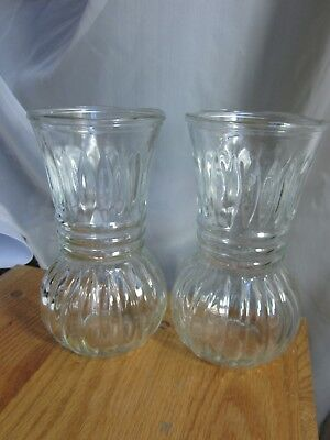Pressed Clear Glass Vase Pair Heavy Marked Cfg Cl 8 Nos 5 & 1 Wavy Mouth Striped