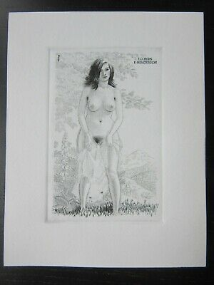 EX LIBRIS Bookplate Mark SEVERIN 320 Henderson naked woman frontal